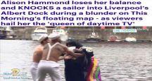 بالفيديو… مذيعة نشرة طقس سمينة تسقط أحد مساعديها في الماء