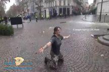 فرنسية تركع أمام الشرطة: اقتلوني ولا تخربوا باريس!