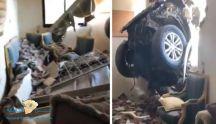 بالفيديو… سيارة تدخل غرفة داخل أحد المنازل