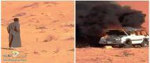 بالفيديو :  احتراق سيارة بالكامل في النفود .. شاهد .. ردة فعل مالكها!