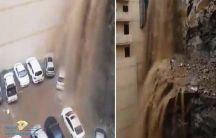 تدفق مياه السيول من أعلى جبل في مكة وتحطم عدد من السيارات المتوقفة