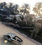 وفاة 3 وإصابة 2 بحادث إصطدام سيارة فورد بنخلة على طريق المطار بمدينة حائل