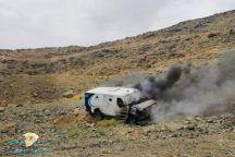 شاهد.. اندلاع حـريق بسيارة نقل أموال على طريق بيشة – سبت العلايا