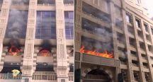 شاهد .. حريق ضخم في فندق بجبل عمر بمكة