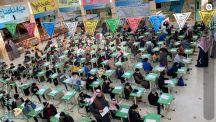 طلاب إبتدائية النووي بحائل يؤدون أول يوم إختبارات وسط أجواء تربوية ..