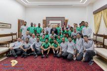 بالصور: الرئيس الفلسطيني يستقبل #المنتخب_السعودي بمقر الرئاسة في رام الله