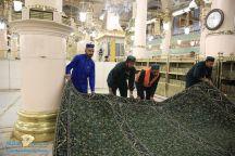صور.. تغيير فرش المسجد النبوي كاملا بسجاد وطني جديد استعدادا لشهر رمضان