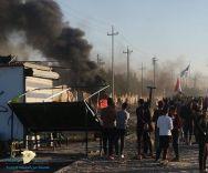 """متظاهرون يحرقون مقر """"الحشد الشعبي"""" في جنوب العراق"""