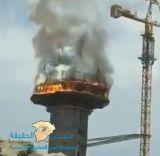 حريق في برج مياه بسكاكا